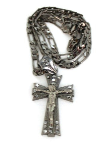 Small Black Iced Out 3D Cross With Jesus Christ Pendant With A 24 Inch Cuban Necklace Chain Good Quality