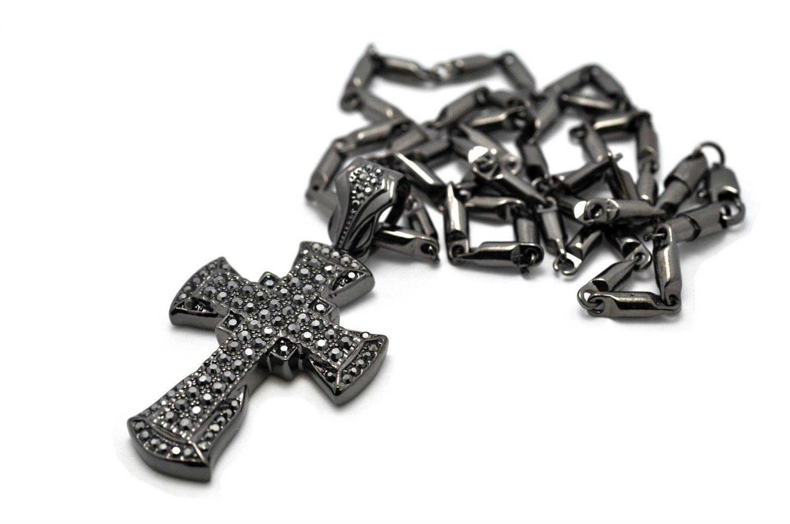 Small Black 3D Celtic Cross Pendant with a 24 Inch Shamballah Glass Beaded Necklace Iced Out Chain