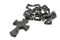 Small Black Iced Out Cross Pendant With A 24 Inch Box Chain Necklace