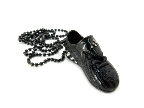 Small Black Sneaker Pendant With Rhinestones And A 30 Inch Ball Chain Necklace