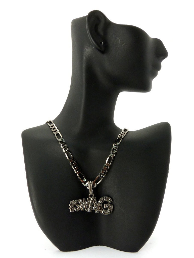 Small Black #Swag Pendant With Rhinestones...
