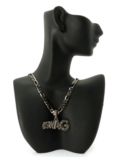 Small Black #Swag Pendant With Rhinestones And A 24 Inch 5mm Figaro Chain Necklace Good Quality