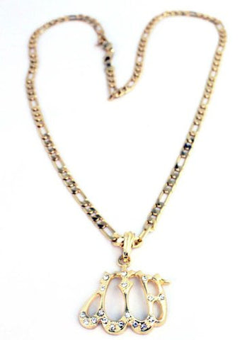 Small Gold Iced Out Allah Pendant With A 24 Inch Necklace Chain Good Quality