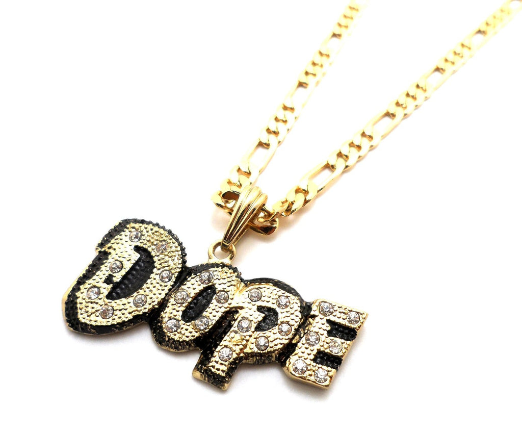 Small Goldtone Iced Out Dope Pendant...