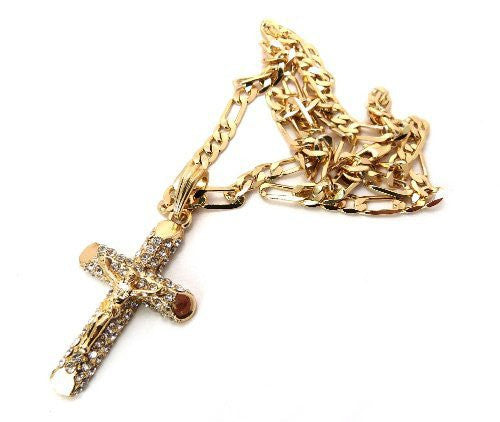 Small Goldtone Iced Out Jesus Cross...