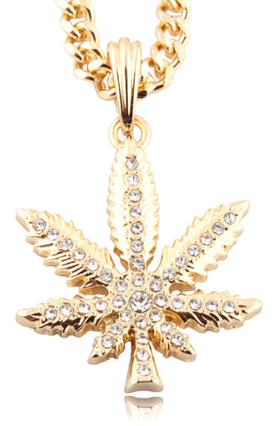 Small Goldtone Iced Out Marijuana Pendant With A 24 Inch Miami Cuban Chain Necklace