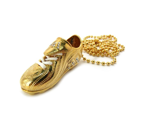 Small Goldtone Puma Style Sneaker Pendant With Rhinestones And A 30 Inch Ball Chain Necklace