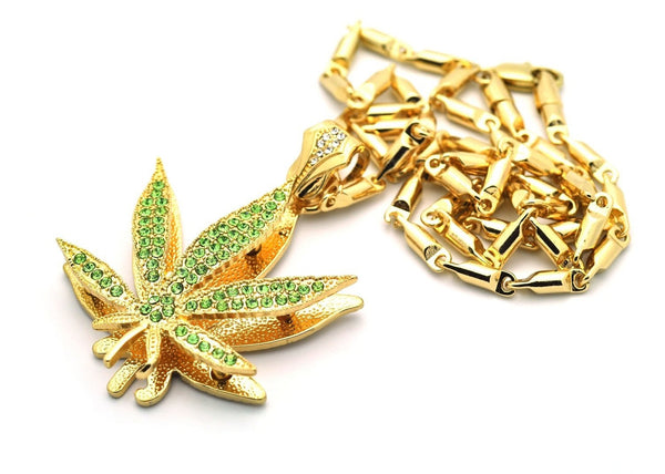 Small Goldtone With Green Iced Out Marijuana Pendant With A 24 Inch Box Chain Necklace