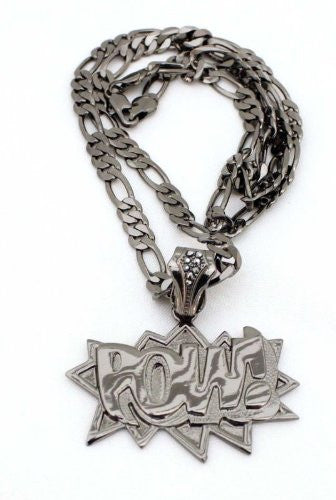 Small Hematite Pow! Pendant With A 24 Inch Necklace Chain Good Quality