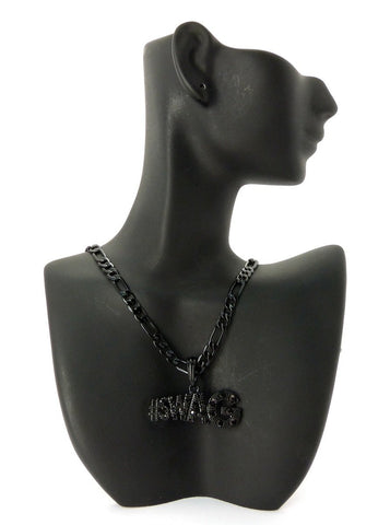 Small Jet Black #Swag Pendant With Rhinestones And A 24 Inch 5mm Figaro Chain Necklace Good Quality