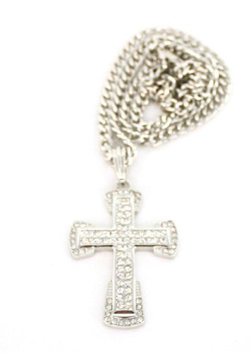Small Silver Iced Out 3D Cross...