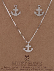 Small Silvertone Anchor Ship Pendant With A 16.5 Inch Link Necklace And Matching Earrings Jewelry Set