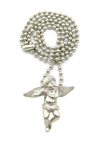 Small Silvertone Angel Mini Micro Pendant With A 27 Inch 3mm Ball Chain