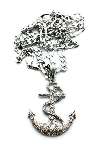 Small Silvertone Iced Out Anchor Pendant...
