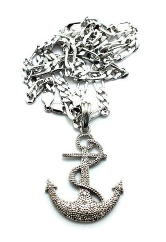 Small Silvertone Iced Out Anchor Pendant With A 24 Inch Figaro Chain