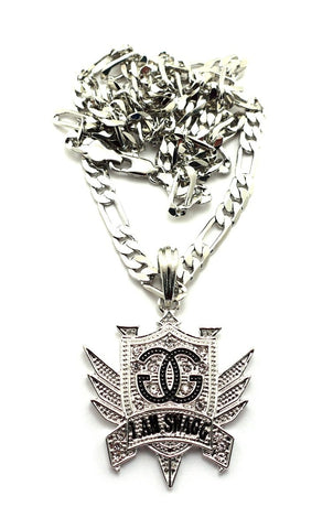 Small Silvertone Iced Out I Am Swagg Pendant With A 24 Inch Figaro Chain