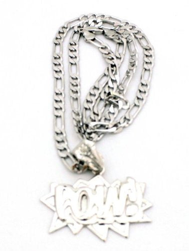 Small Silvertone Pow! Pendant With A 24 Inch Necklace Chain Good Quality