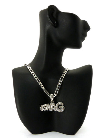 Small Silvertone #Swag Pendant With Rhinestones And A 24 Inch 5mm Figaro Chain Necklace Good Quality