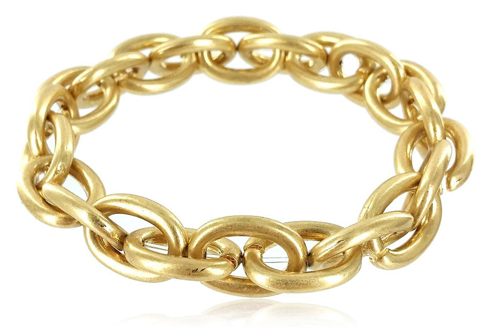 Smooth Metal Link Stretch Bracelet (Goldtone)...