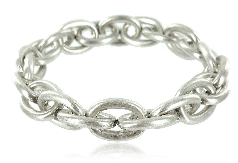Smooth Metal Link Stretch Bracelet (Silvertone)...