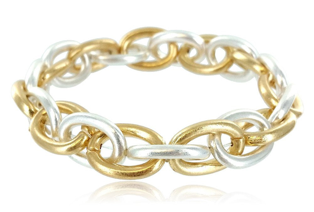 Smooth Metal Link Stretch Bracelet (Two-Tone)...