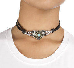 Soft Leather Choker With Native American Style Pendant - Available In Black And White (Black)