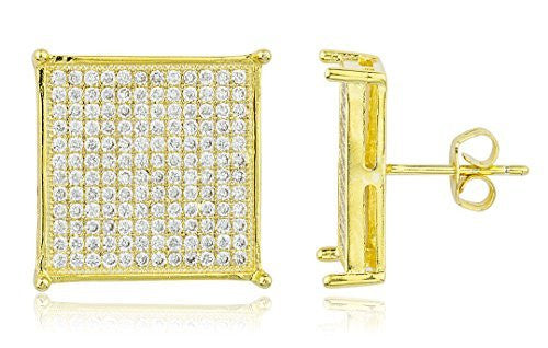 Square 16mm Stud Earrings With Cubic...
