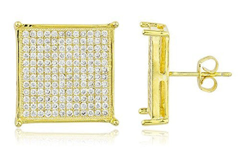 Square 16mm Stud Earrings With Cubic Zirconia Stones