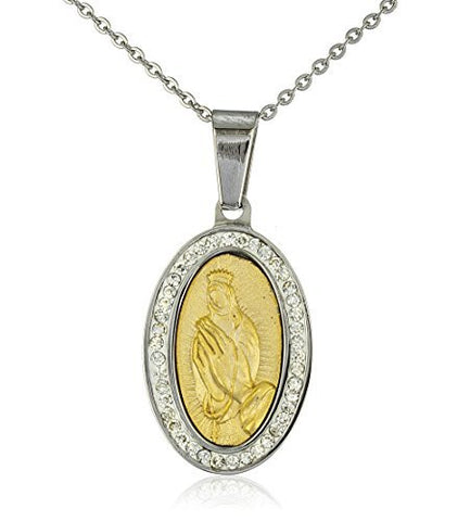 Stainless Steel 19 Inch Adjustable Necklace With Holy Mary Pendant With Clear Stones