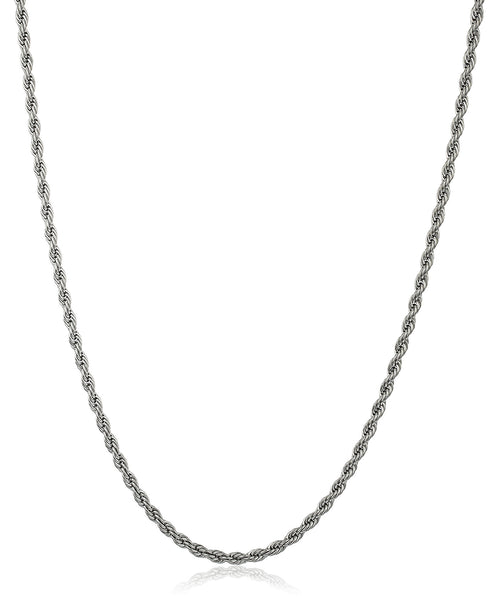 Stainless Steel 4mm Rope Chain (24 Inch Silvertone)