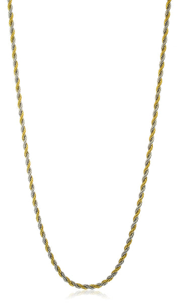 Stainless Steel 5mm Rope Chain (24 Inch Twotone)