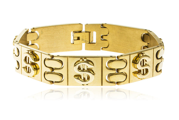 Stainless Steel 8 Inch Designer Rectangle Bracelet With Embedded Dollar Signs (Goldtone)