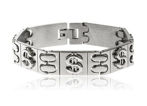 Stainless Steel 8 Inch Designer Rectangle Bracelet With Embedded Dollar Signs (Silvertone)