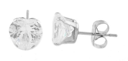 Stainless Steel Clear Cubic Zirconia Heart Stone Four Prong 10mm Stud Earrings