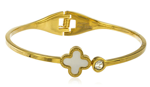 Stainless Steel Clover With Stone Hinge Bangle Bracelet (Goldtone)