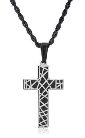 Stainless Steel Cross Design Pendant With 24 Inch Black Rope Chain