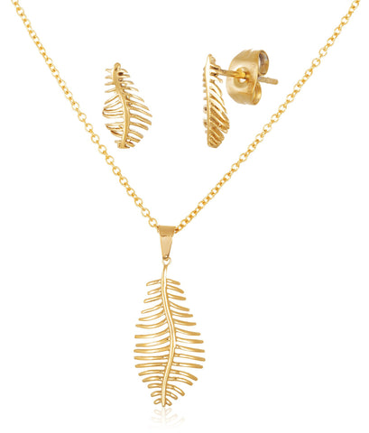 Stainless Steel Feather Pendant 24 Inch Necklace And Matching Earrings (Goldtone)