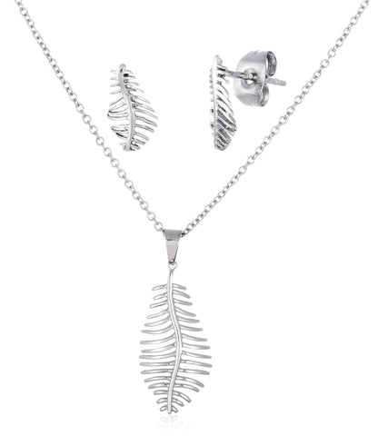 Stainless Steel Feather Pendant 24 Inch Necklace And Matching Earrings (Silvertone)