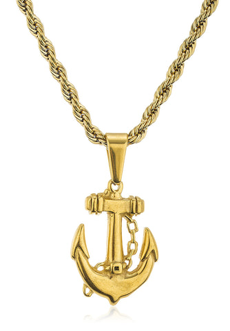 Stainless Steel Goldtone Anchor Pendant With 24 Inch Rope Chain