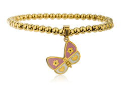Stainless Steel Goldtone Butterfly Charm Beaded Stretch Bracelet (Pink)
