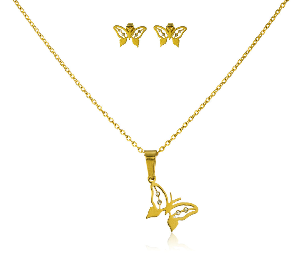 Stainless Steel Goldtone Butterfly Pendant With...