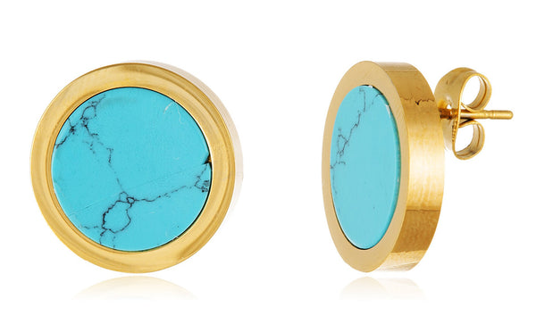 Stainless Steel Goldtone Circle Earring Studs (Turquoise)