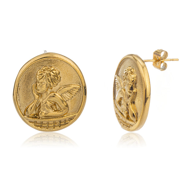 Stainless Steel Goldtone 'Cupid' Cherub Circle Earrings
