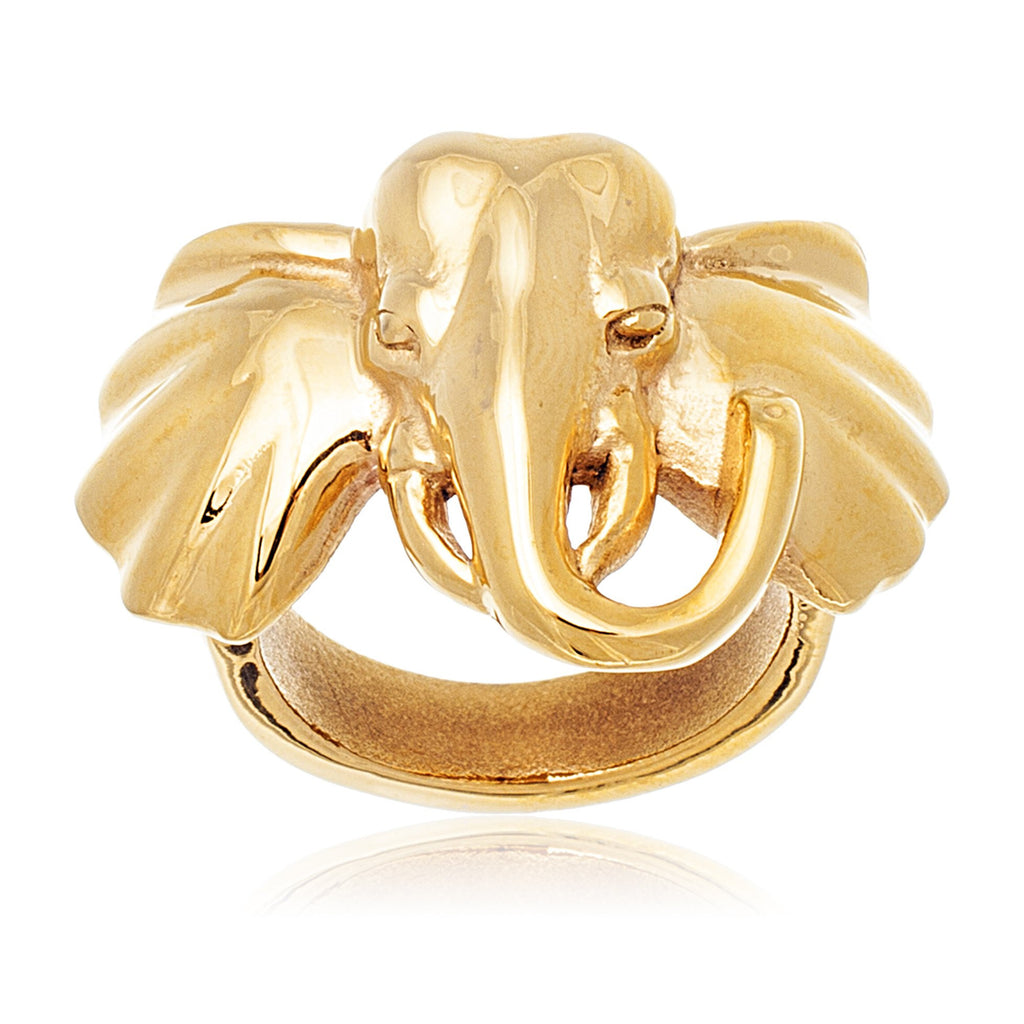 Stainless Steel Goldtone Elephant Face Ring...