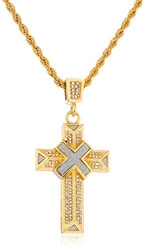Stainless Steel Goldtone Iced Out Cross With Sandblast X Pendant With 24 Inch Rope Chain