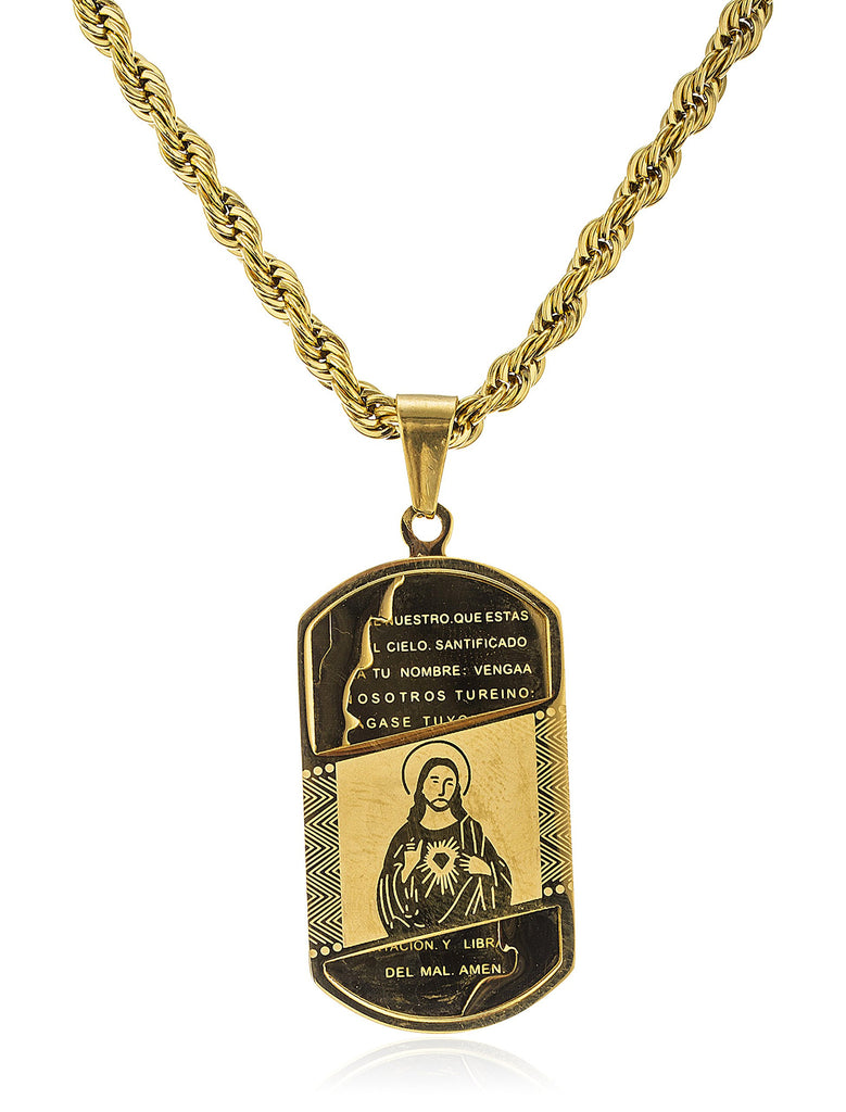 Stainless Steel Goldtone Jesus Prayer Bar...