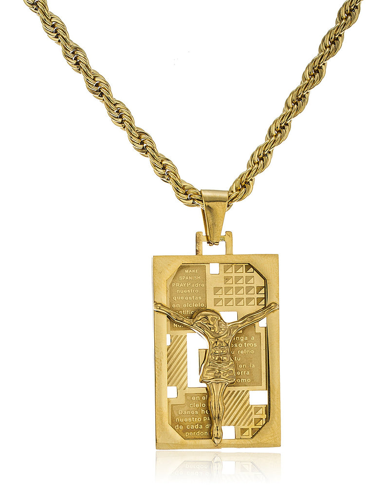 Stainless Steel Goldtone Jesus Spanish Prayer...