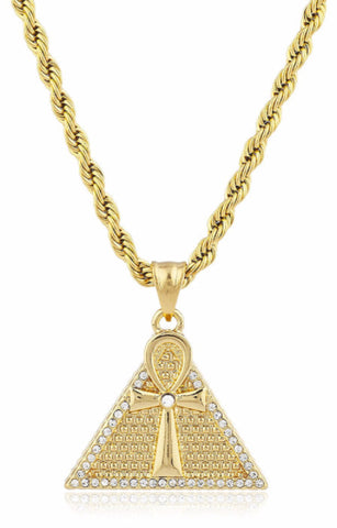 Pyramid and Ankh Pendant with Rope Chain
