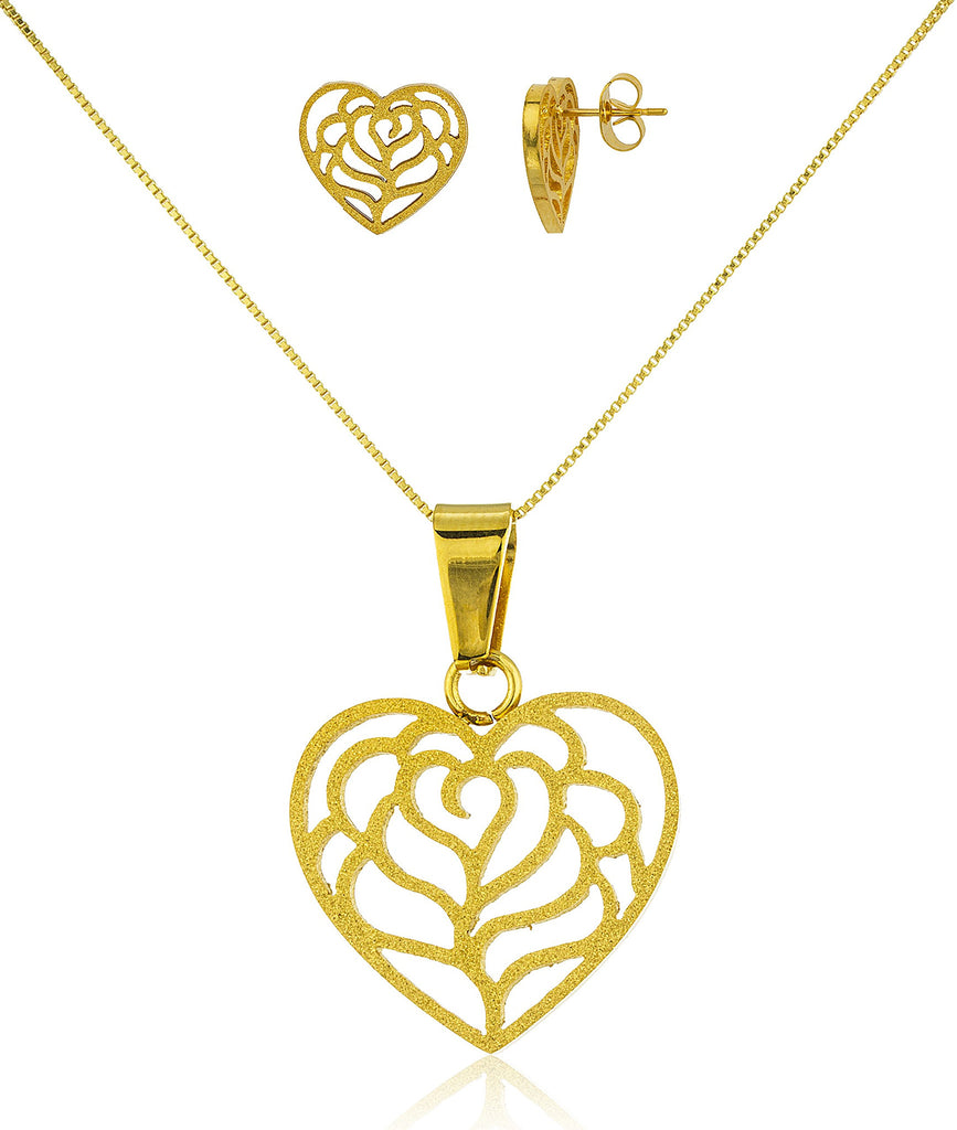 Stainless Steel Goldtone Rose Stencil Heart...