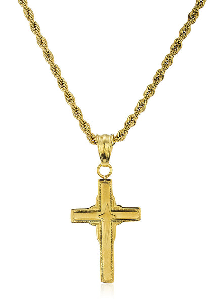 Stainless Steel Goldtone Various Micro Pendant Crosses With A 24 Inch Rope Chain (Double Cross)